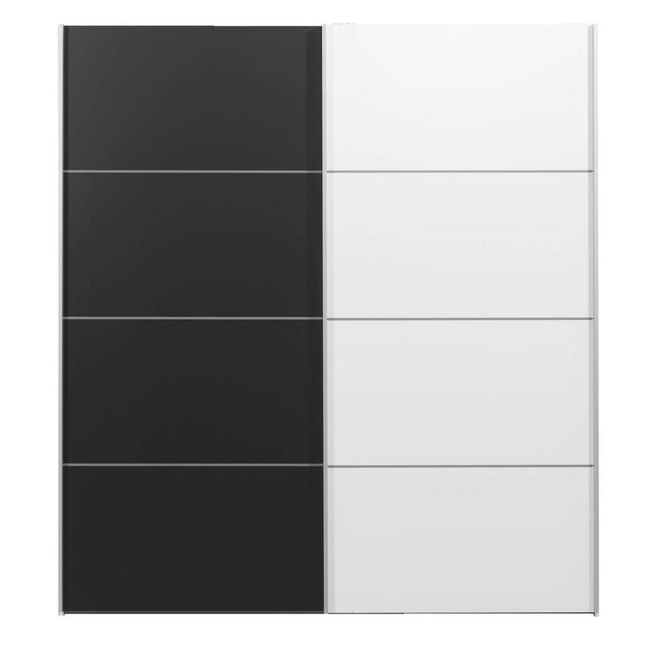 Schuifdeurkast Verona wit - zwart/wit - 200x182x64 cm
