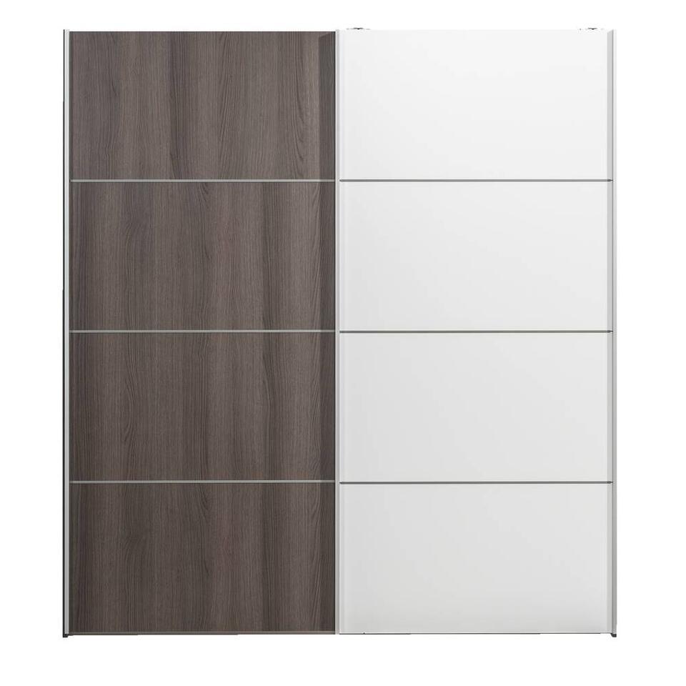 Schuifdeurkast Verona grijs eiken - grijs eiken/wit - 200x182x64 cm