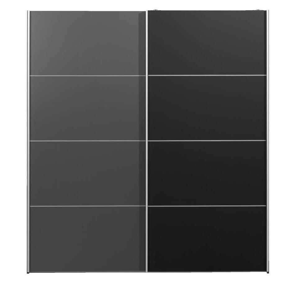 Schuifdeurkast Verona antraciet - antraciet/zwart - 200x182x64 cm - Leen Bakker