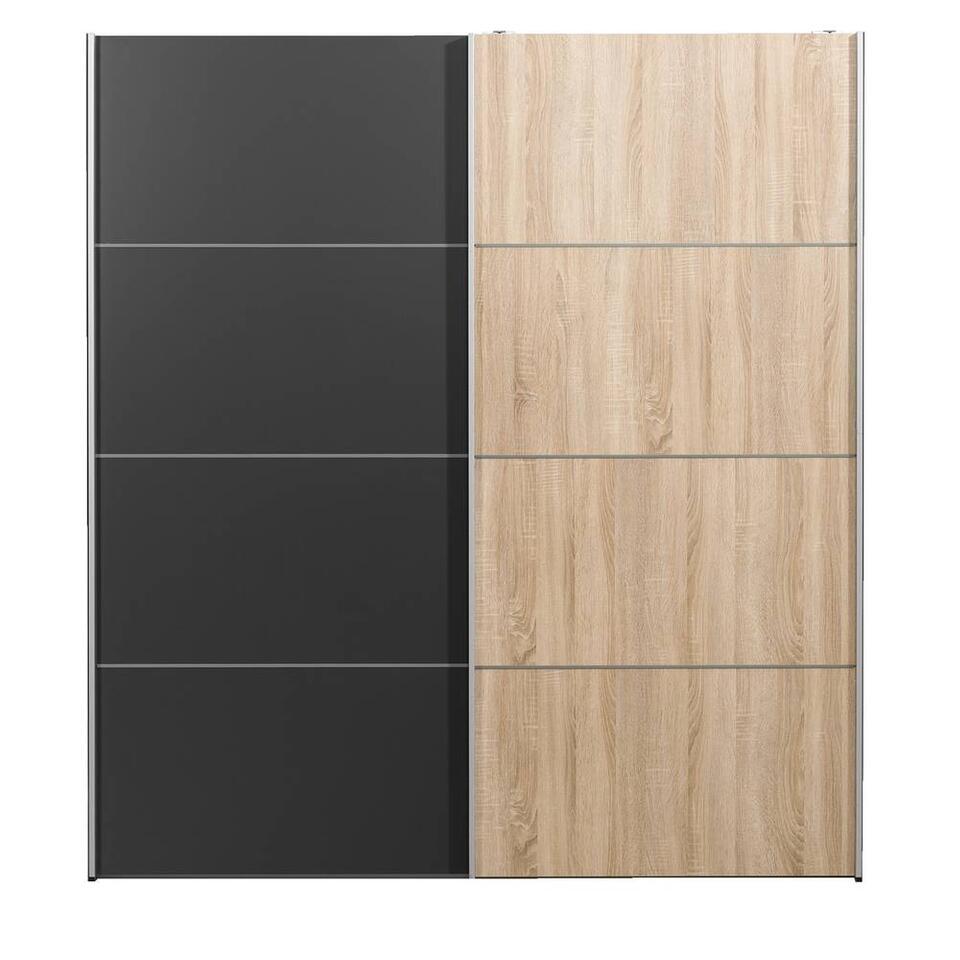 Schuifdeurkast Verona - eikenkleur/antraciet - 200x182x64 cm