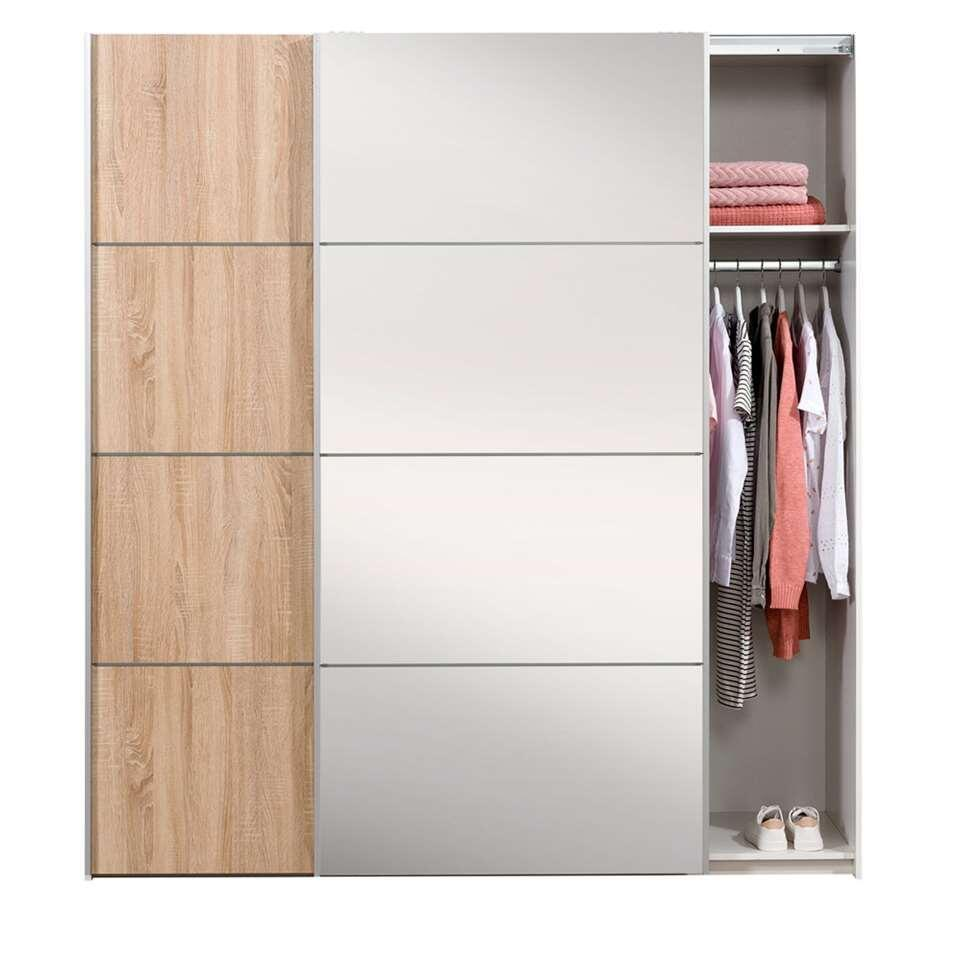Schuifdeurkast Verona wit - eiken/spiegel - 200x182x64 cm