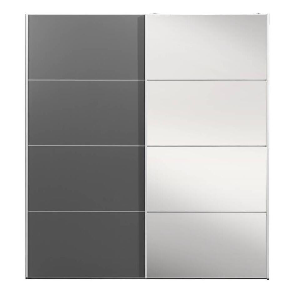 Schuifdeurkast Verona antraciet - antraciet/spiegel - 200x182x64 cm