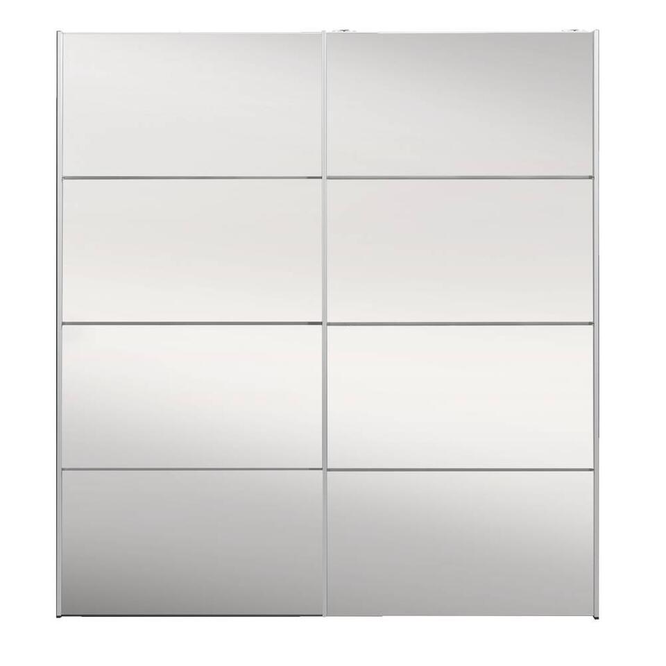 Schuifdeurkast Verona antraciet - spiegel - 200x182x64 cm