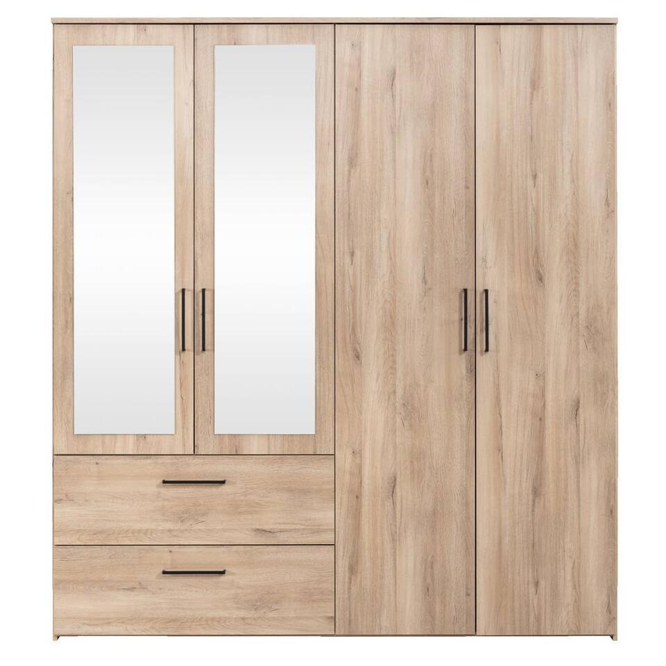 Kledingkast Orleans 4 deurs - eikenkleur - 201x181x58 cm