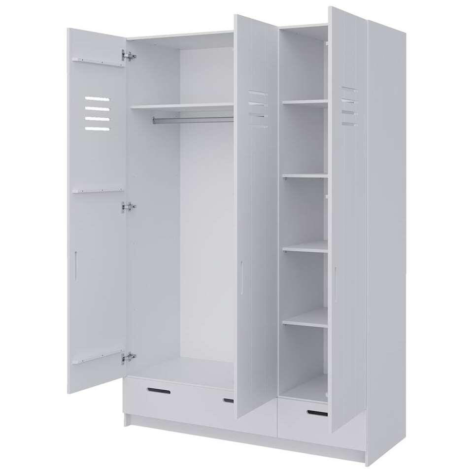 Pure xl by woood kledingkast locker wit 215x142x60 cm for Kledingkasten outlet