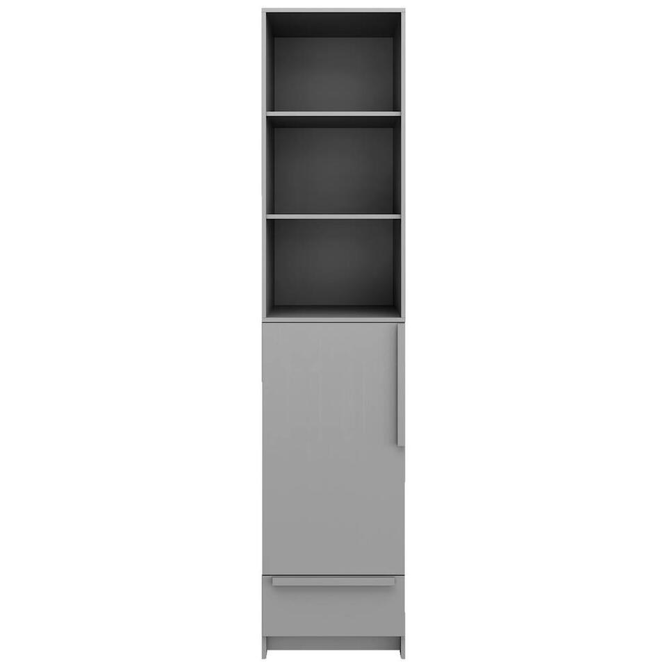 Pure XL by Woood kledingkast Split - grijs - 215x48x60 cm - Leen Bakker