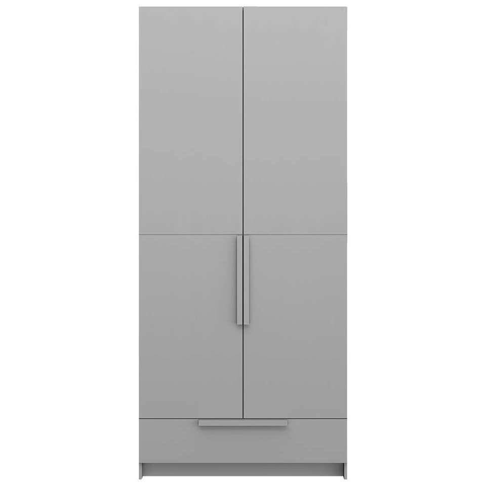 Pure XL by Woood kledingkast Split - grijs - 215x95x60 cm - Leen Bakker