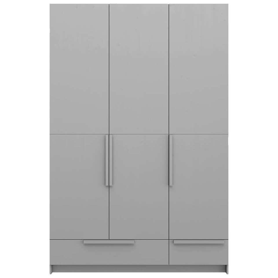 Pure XL by Woood kledingkast Split - grijs - 215x142x60 cm - Leen Bakker