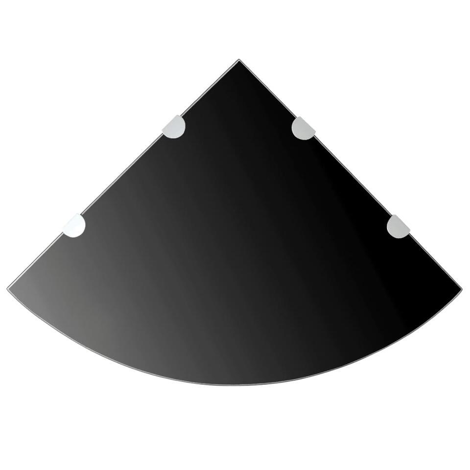 VIDAXL Hoekschap - met chromen - dragers - zwart45x45 cm - glas
