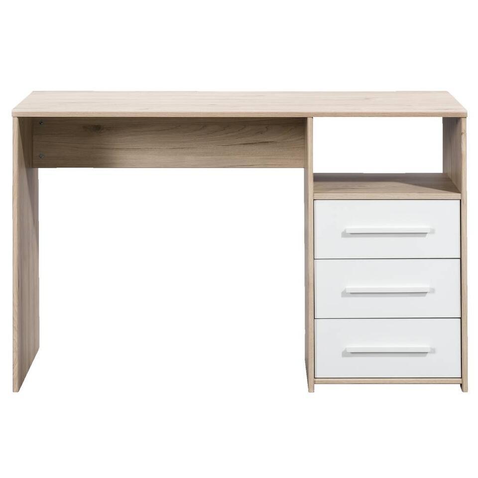 Bureau Oslo - eikenkleur/wit - 75x120x50,5 cm - Leen Bakker