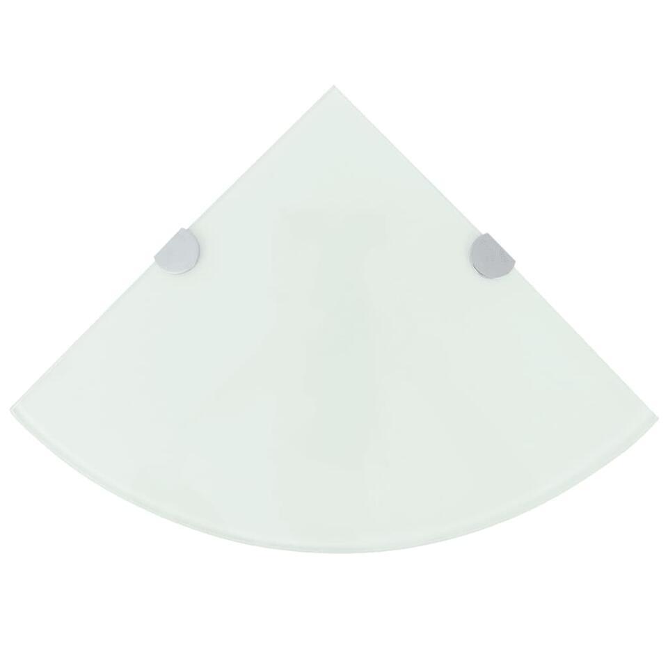 VIDAXL Hoekschap - met chromen - dragers - 25x25 cm - glas - wit