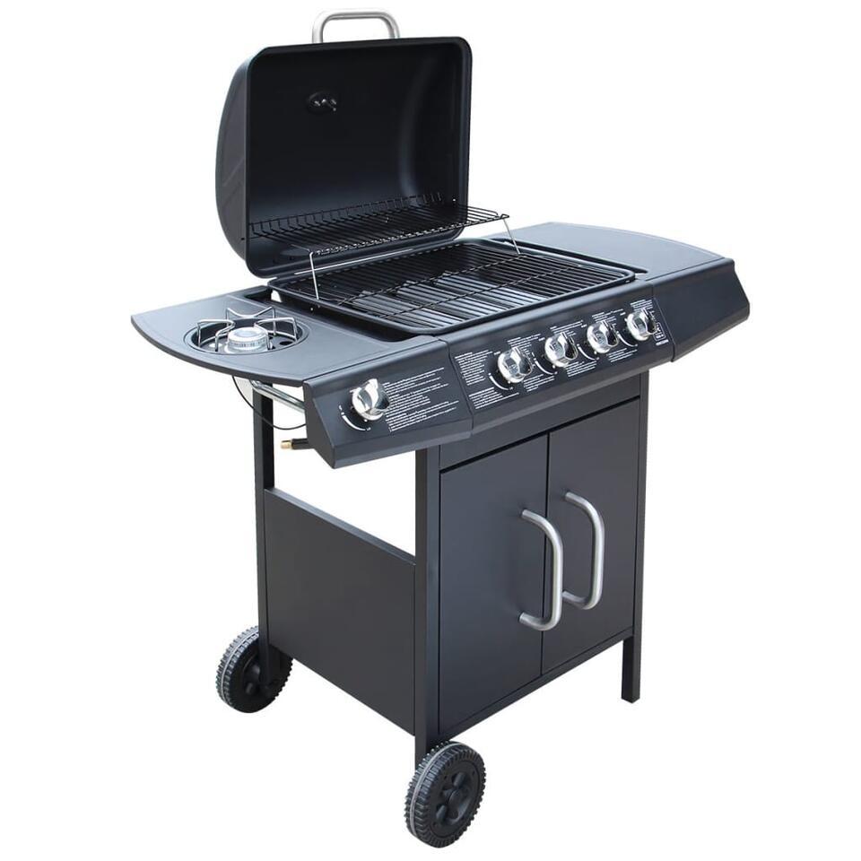 vidaXL Gasbarbecue 4+1 kookzone - zwart