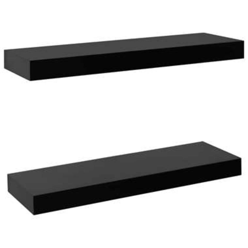 VIDAXL Wandplanken - zwevend - 2 st - 40x20x3,8 cm - zwart