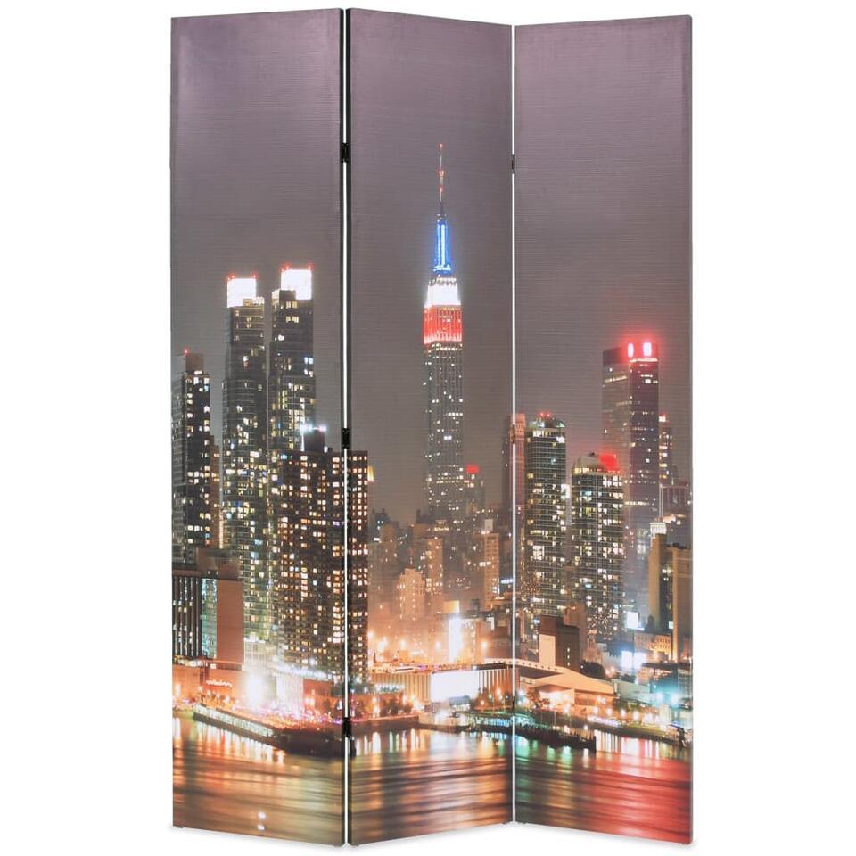 VIDAXL Kamerscherm - inklapbaar - New York - bij nacht - 120x170 cm