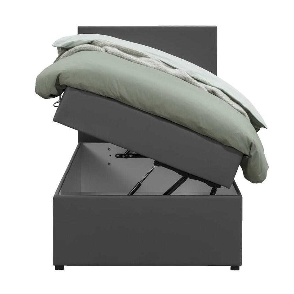 Boxcombinatie Varena leatherlook - donkergrijs - 90x200 cm
