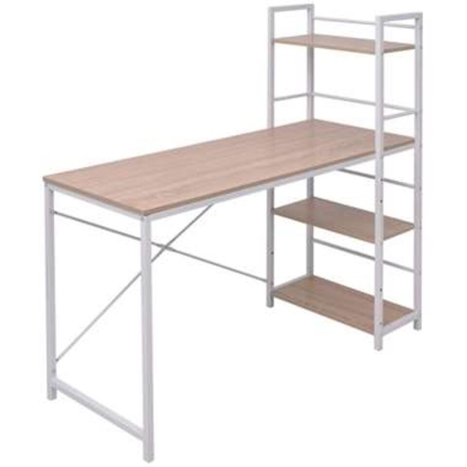 VIDAXL Bureau - met boekenkast - 4-laags - eikenkleurig