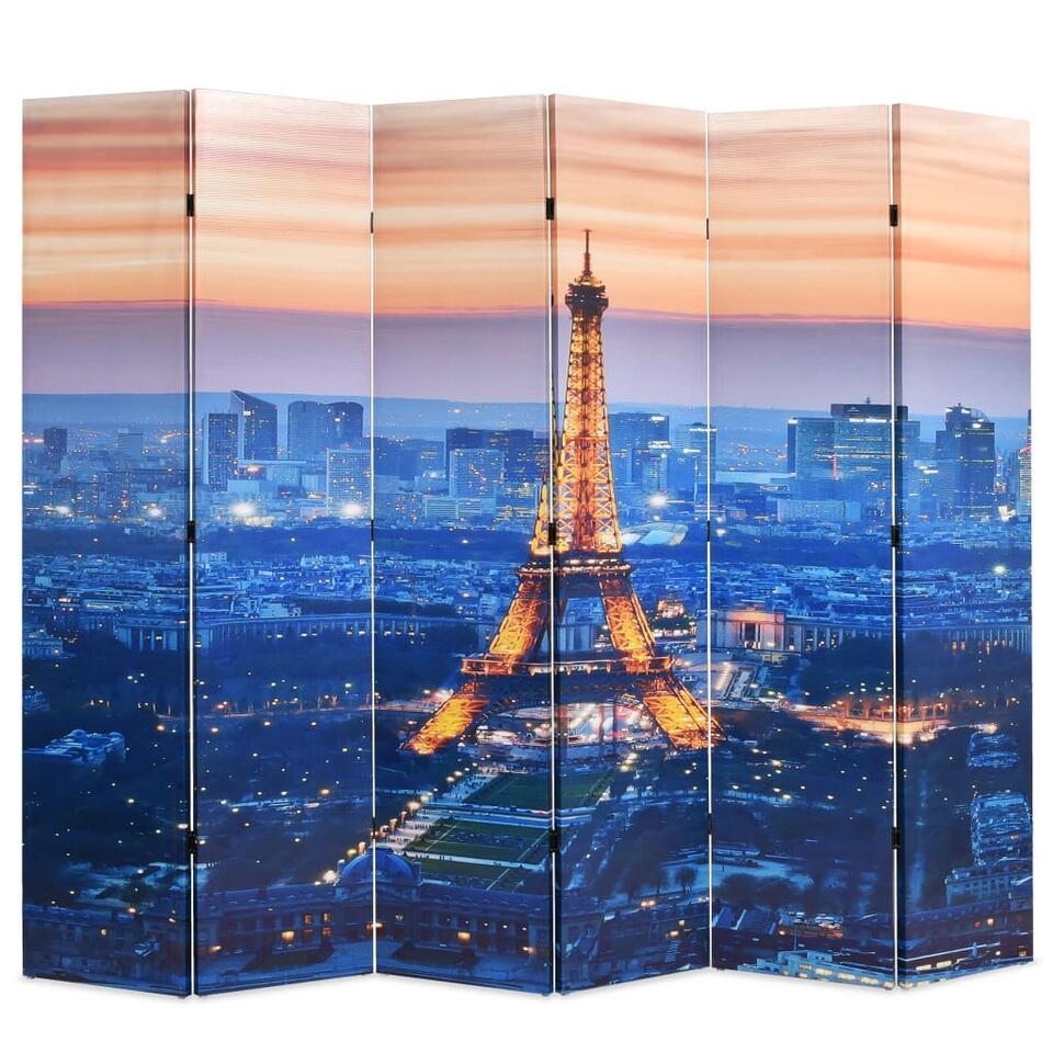 VIDAXL Kamerscherm - inklapbaar - Parijs - bij nacht - 228x170 cm