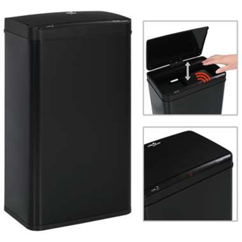 VIDAXL Prullenbak - met automatische - sensor - 70 L - staal - zwart
