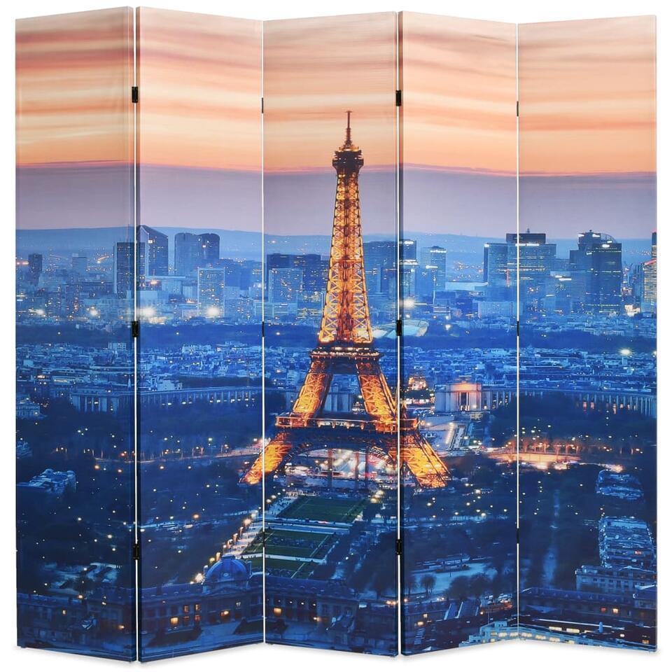 VIDAXL Kamerscherm - inklapbaar - Parijs - bij nacht - 200x170 cm