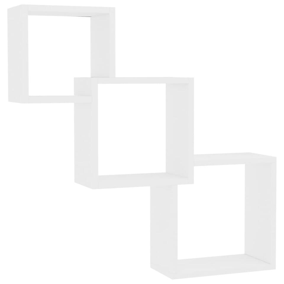 VIDAXL - Wandschappen - kubus - 84,5x15x27 cm - spaanplaat - wit