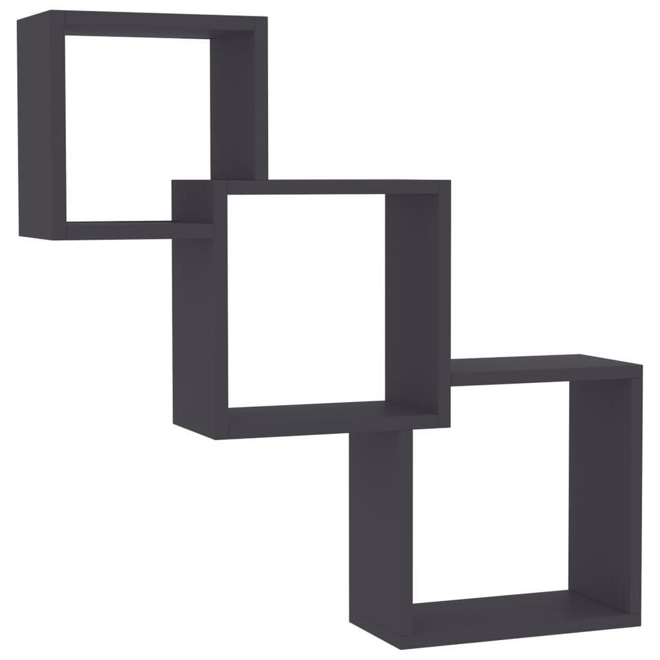 VIDAXL - Wandschappen - kubus - 84,5x15x27 cm - spaanplaat - grijs