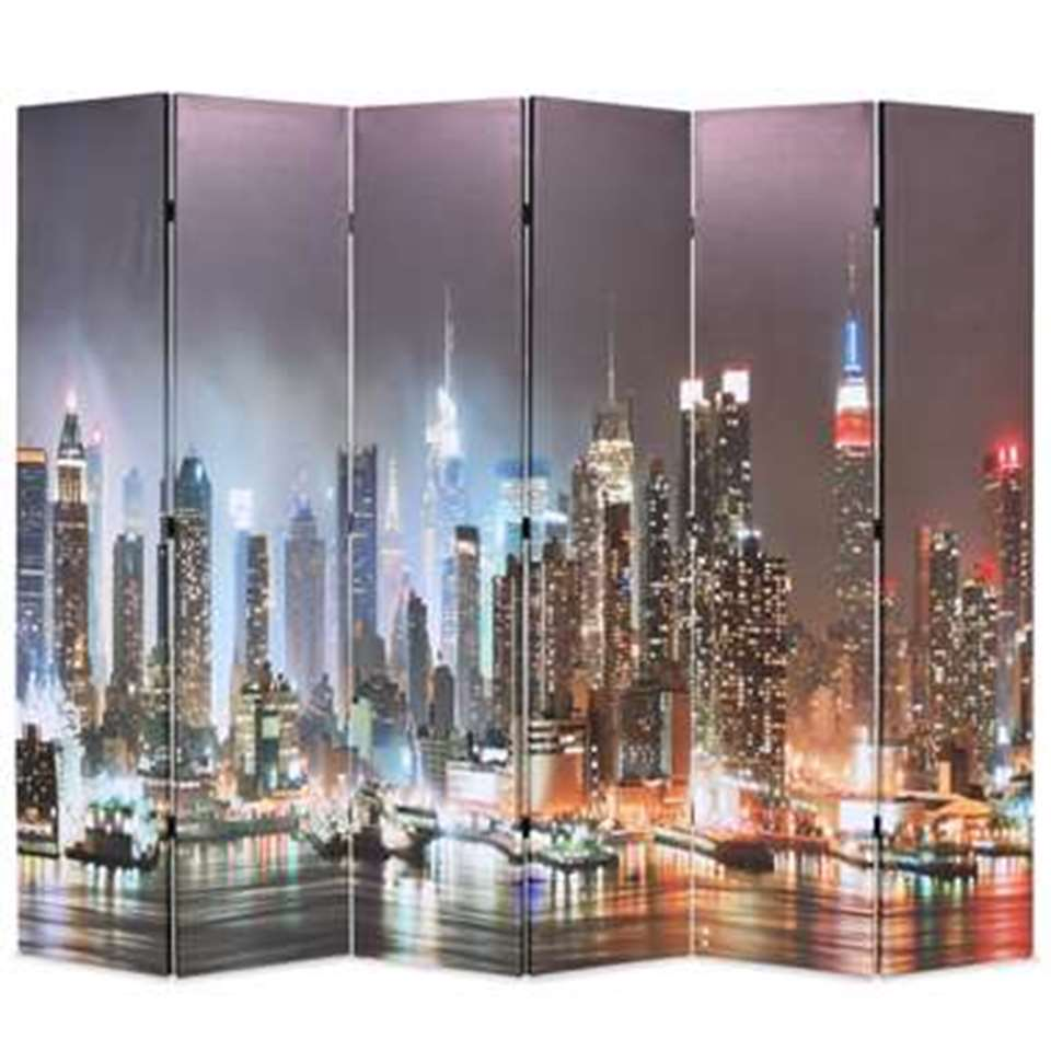 VIDAXL Kamerscherm - inklapbaar - New York - bij nacht - 228x170 cm