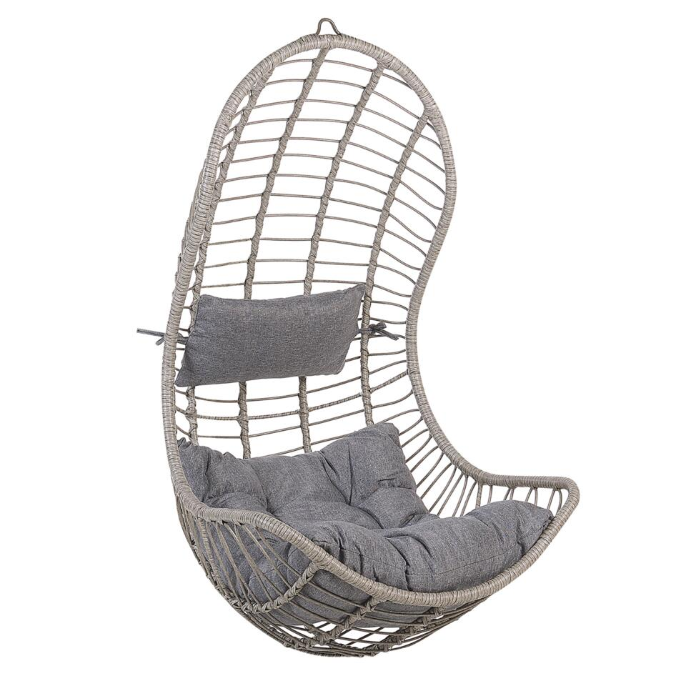 Beliani Hangstoel PINETO - grijs wicker