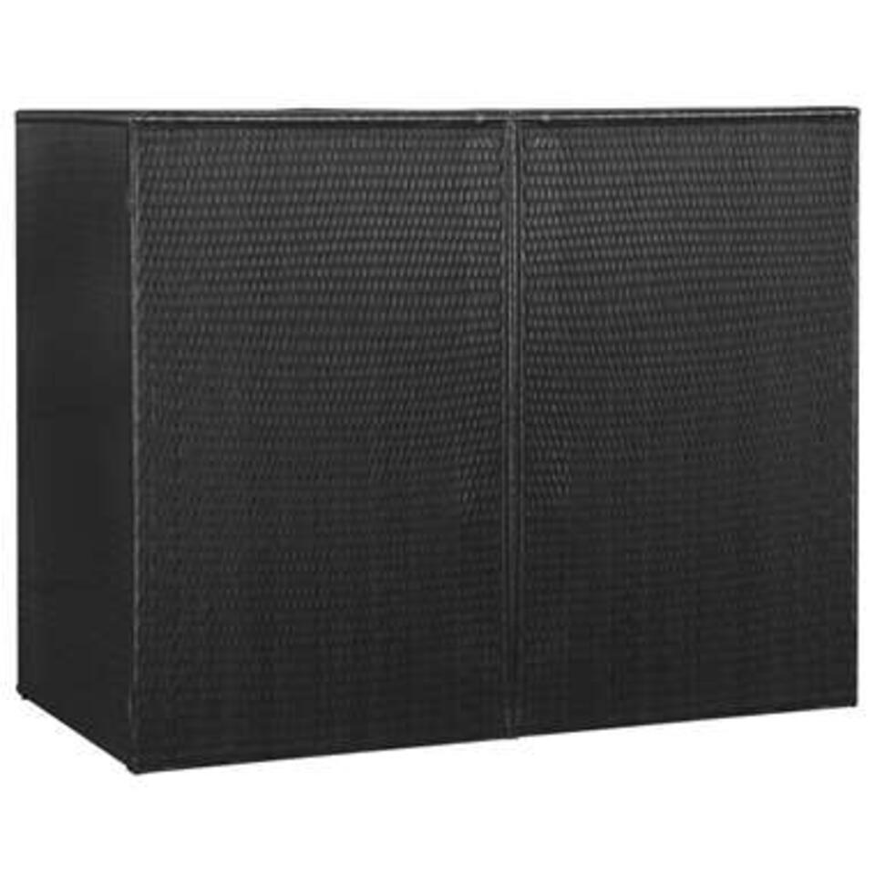 vidaXL Containerberging dubbel - 153x78x120 cm - poly rattan - zwart