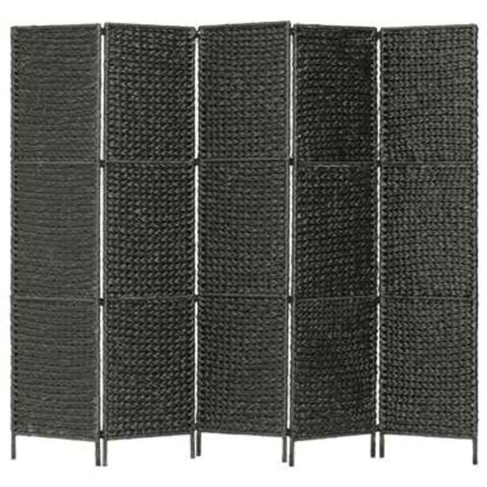 VIDAXL Kamerscherm - met 5 panelen - 193x160 cm - waterhyacint - zwart