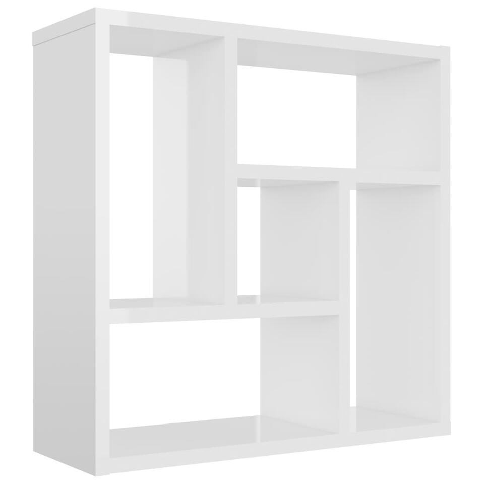 VIDAXL - Wandschap - 45,1x16x45,1 cm - spaanplaat - hoogglans wit