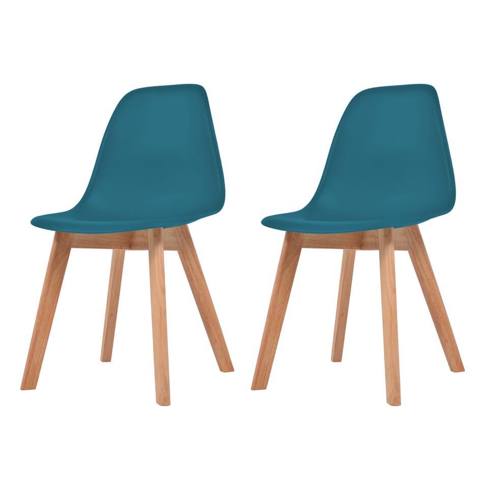 VIDAXL Eetkamerstoelen - 2 st - kunststof - turquoise