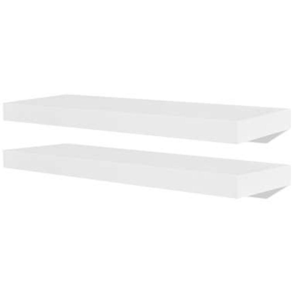 VIDAXL Wandplanken - zwevend - voor boeken/dvd's - MDF - witwit - 2 st