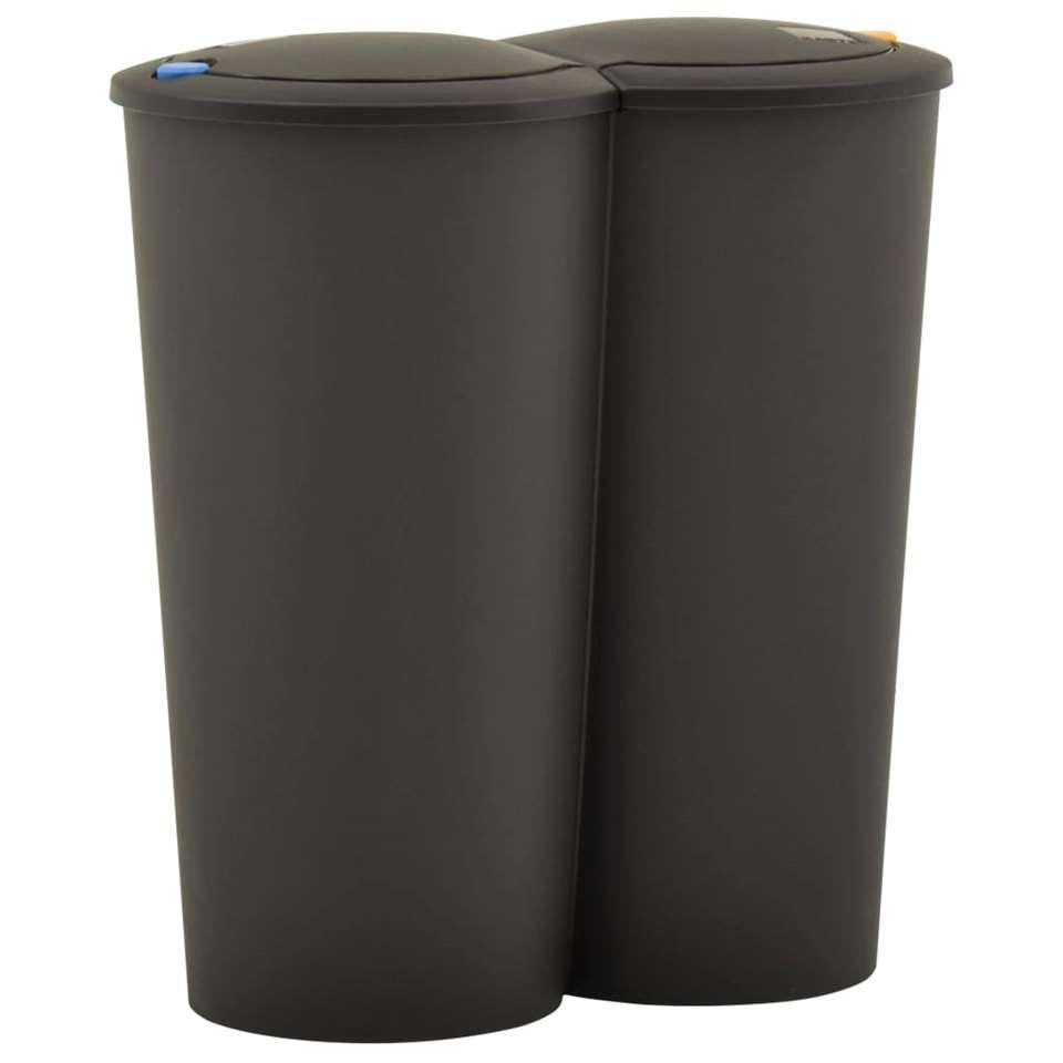 VIDAXL Prullenbak - dubbel - 50 L - zwart