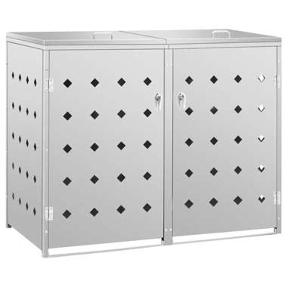 vidaXL Vierdubbele containerberging 240 L - roestvrij staal