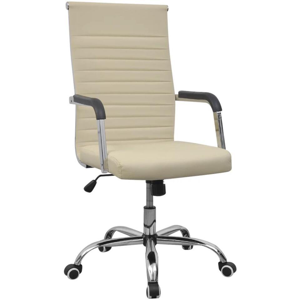 VIDAXL Bureaustoel - 55x63 cm - kunstleer - gebroken - wit