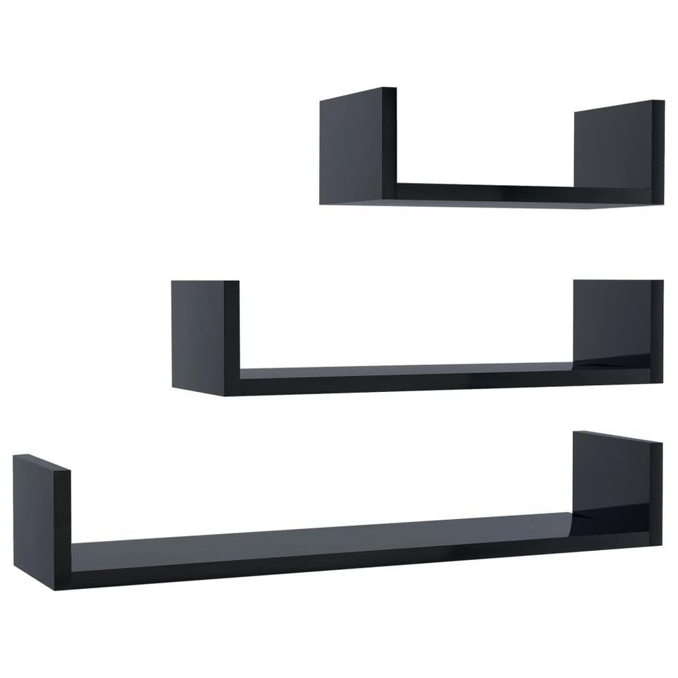VIDAXL - Wandschappen - 3 st - spaanplaat - hoogglans zwart