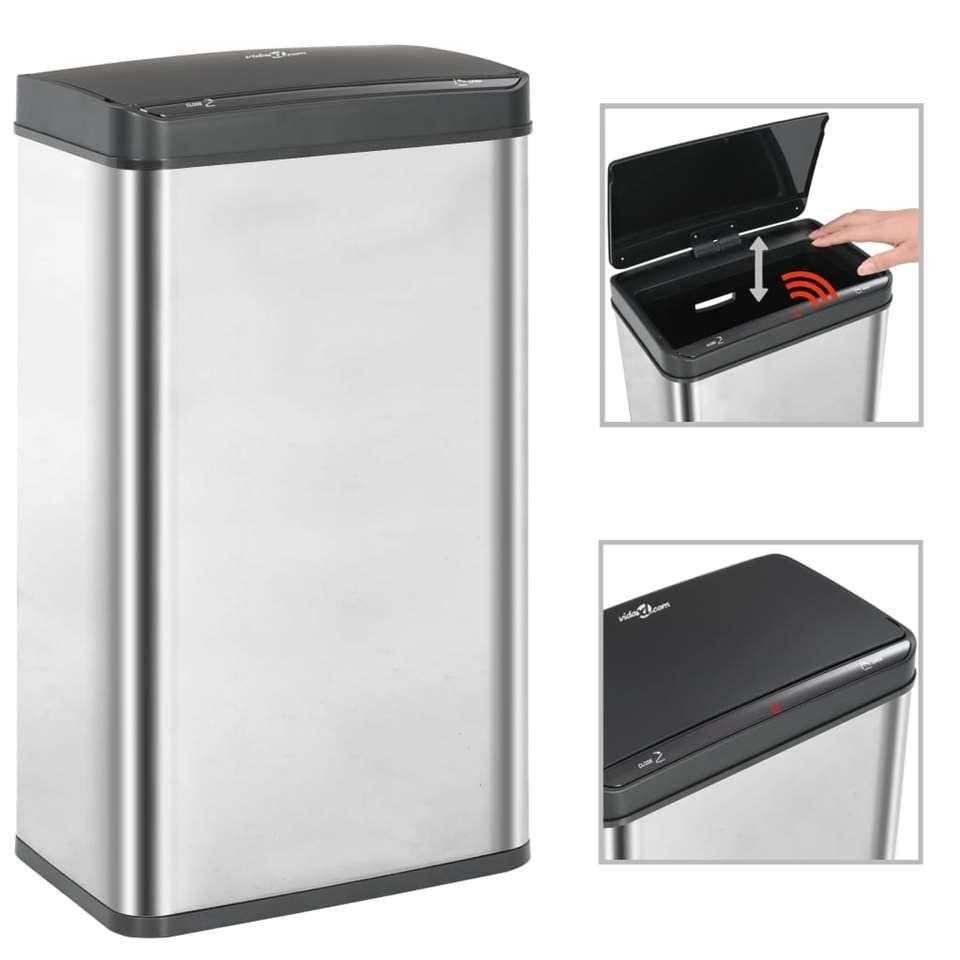 VIDAXL Prullenbak - met automatische - sensor - 70 L - RVS - zilver en zwart