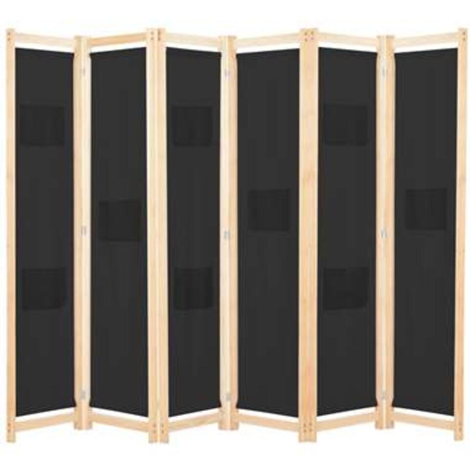 VIDAXL Kamerscherm - met 6 panelen - 240x170x4 cm - stof - zwart