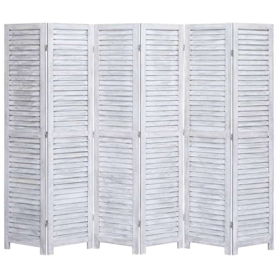 VIDAXL Kamerscherm - met 6 panelen - 210x165 cm - hout - grijs