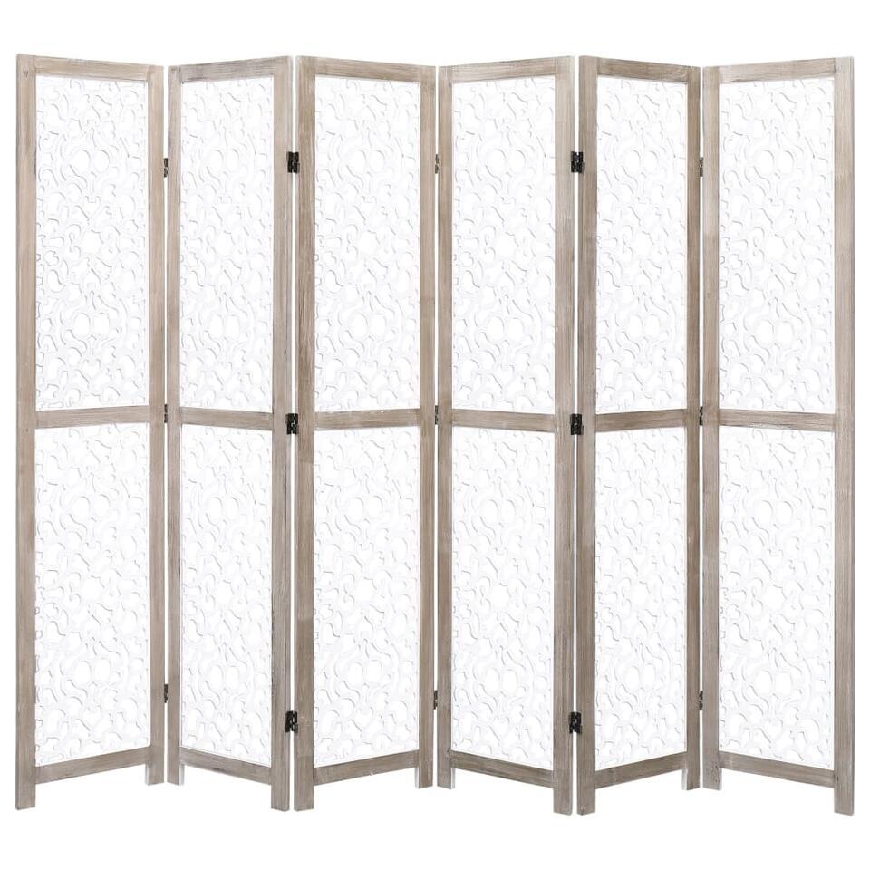 VIDAXL Kamerscherm - met 6 panelen - 210x165 cm - massief hout - wit