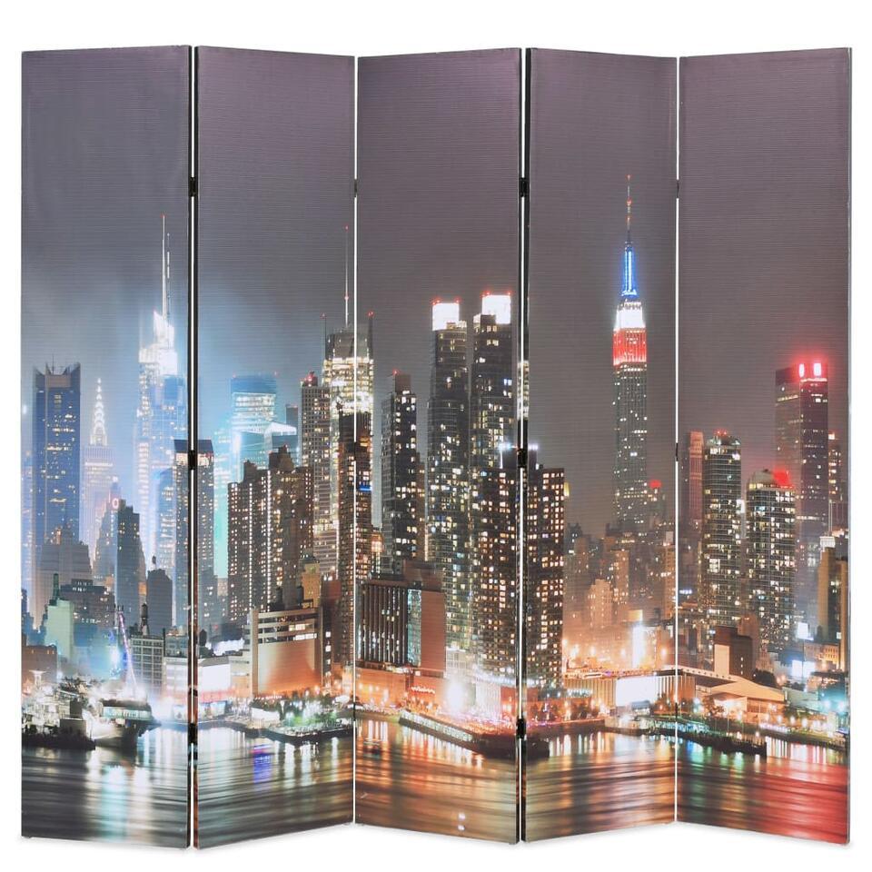 VIDAXL Kamerscherm - inklapbaar - New York - bij nacht - 200x170 cm
