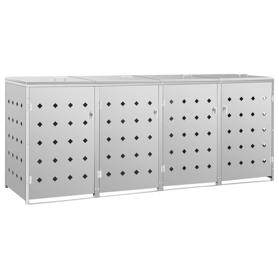 vidaXL Containerberging  vierdubbel 240 L - roestvrij staal