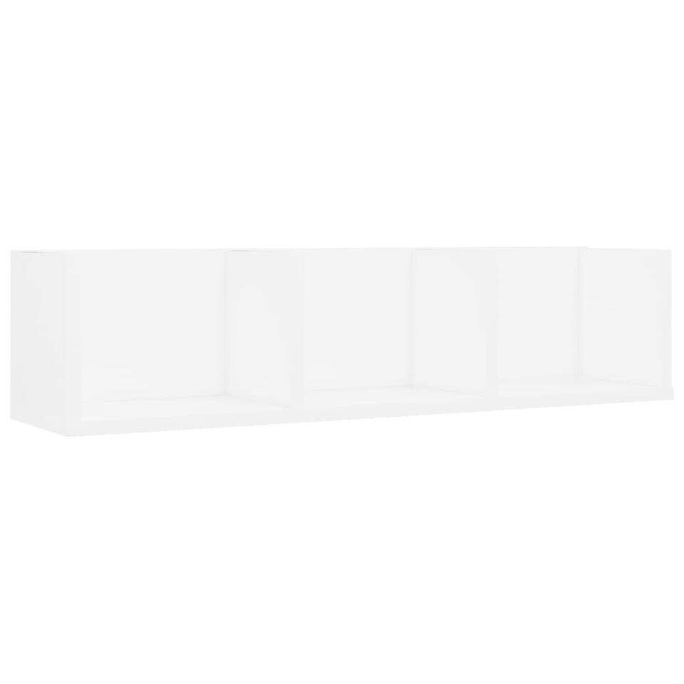 VIDAXL - Cd-wandschap - 75x18x18 cm - spaanplaat - wit