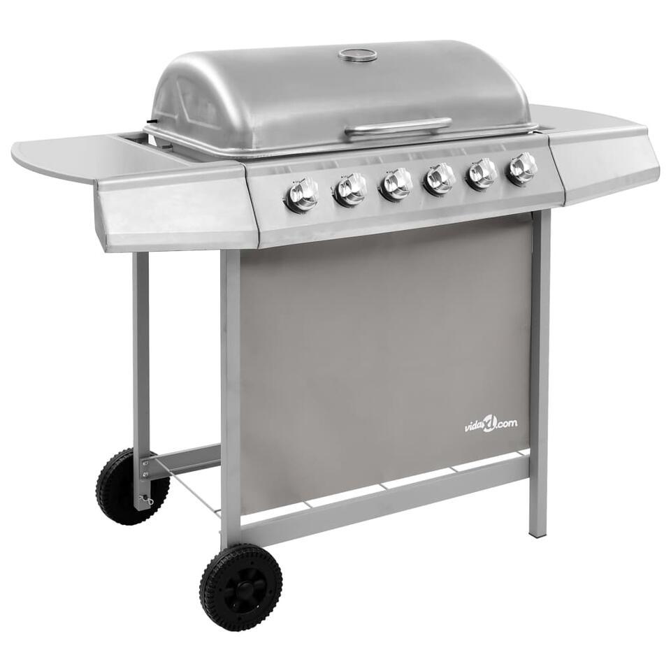 vidaXL Gasbarbecue met 6 branders - zilverkleurig