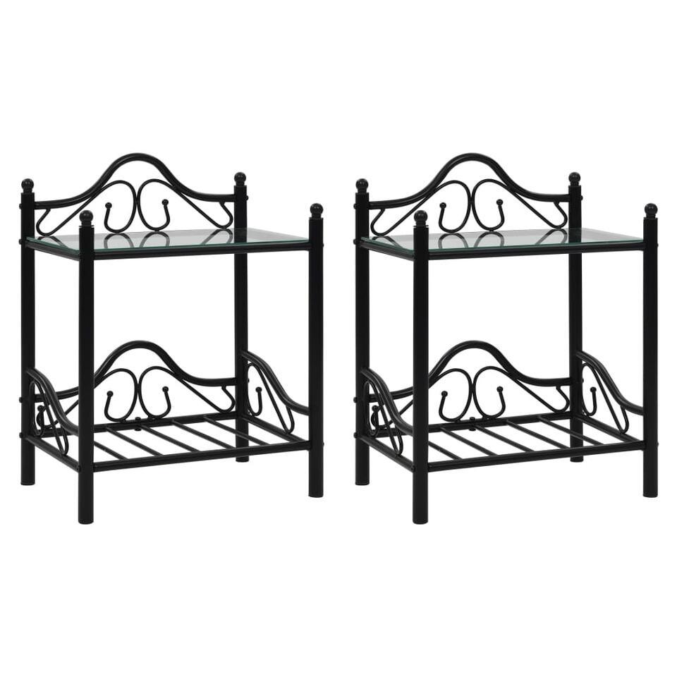 VIDAXL Nachtkastjes - 45x30,5x60 cm - staal en gehard - glass - 2 st