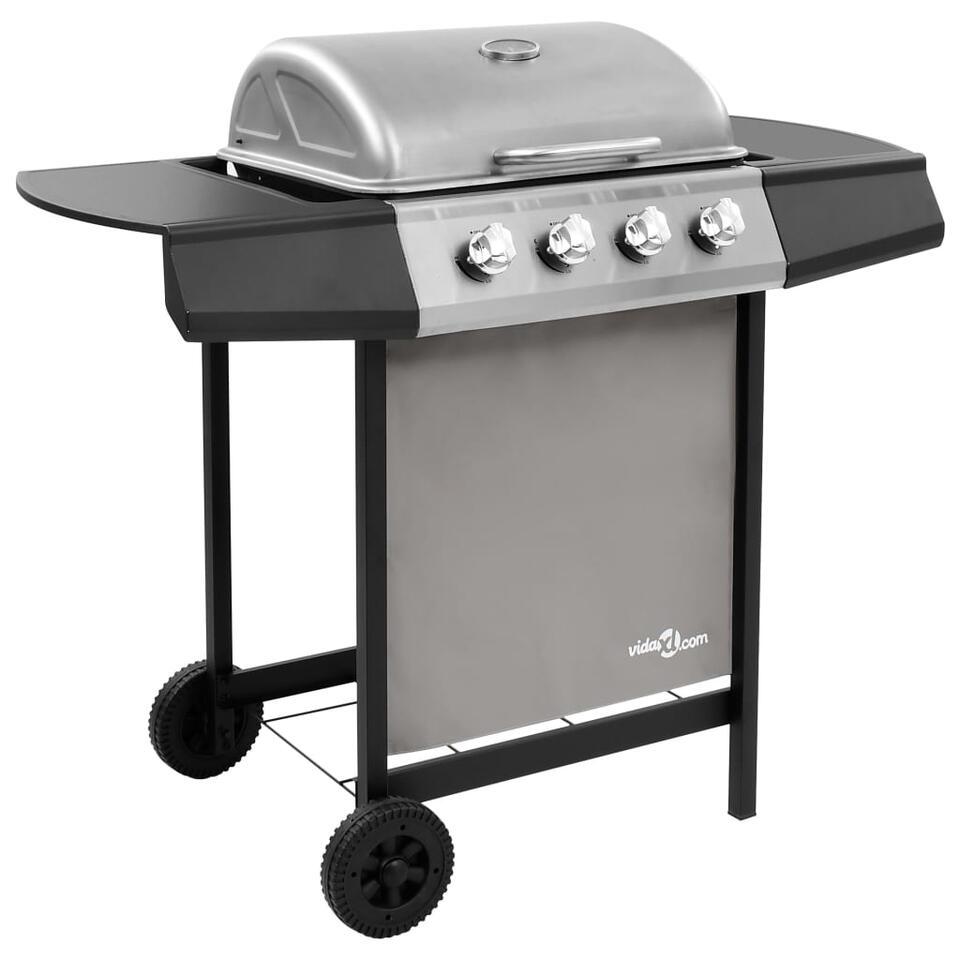 vidaXL Gasbarbecue met 4 branders - zwart en zilverkleurig