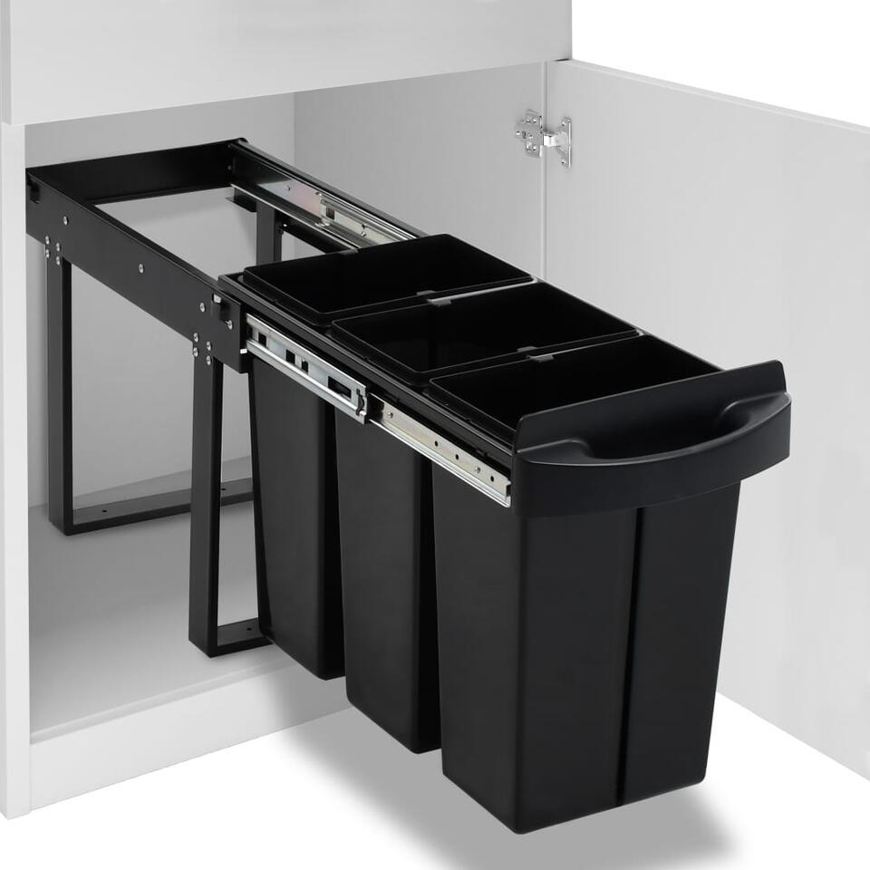 VIDAXL Inbouwprullenbak - uittrekbaar - soft-close - 36 L