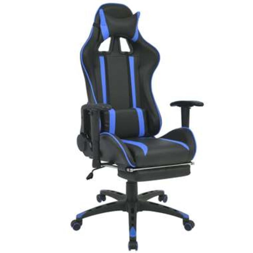 VIDAXL Bureau-/gamestoel - verstelbaar - met voetensteun - blauw