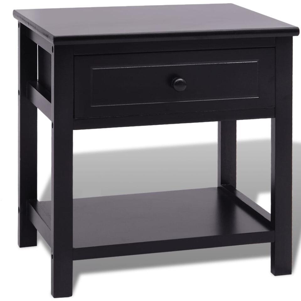 VIDAXL Nachtkastje - hout - zwart