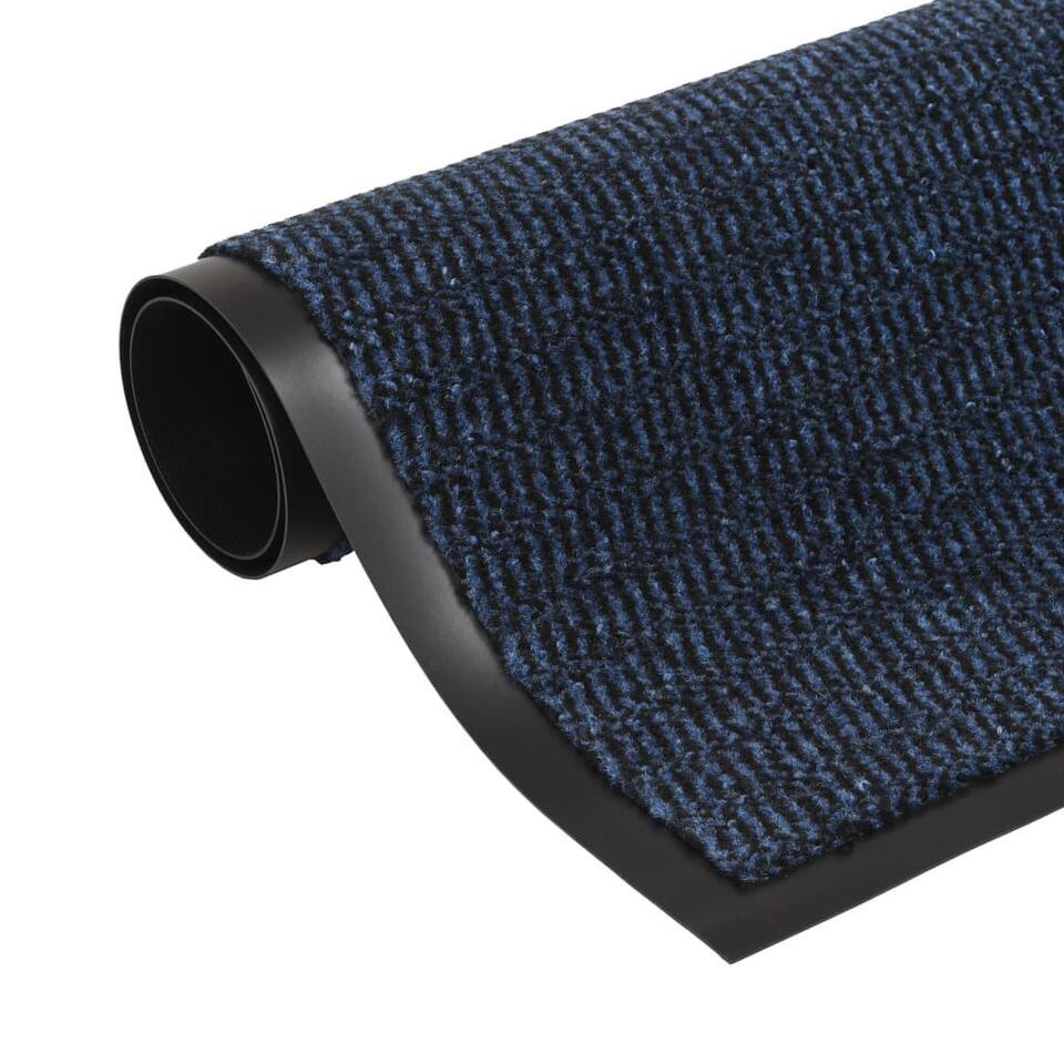 vidaXL Droogloopmatten - 2 st - rechthoekig getuft - 90x150 cm - blauw